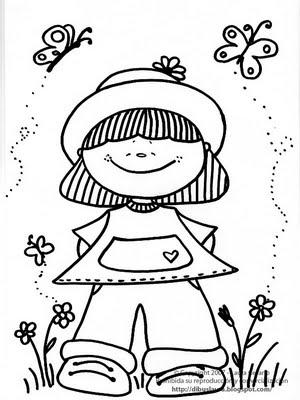 Dibujo de nena para colorear