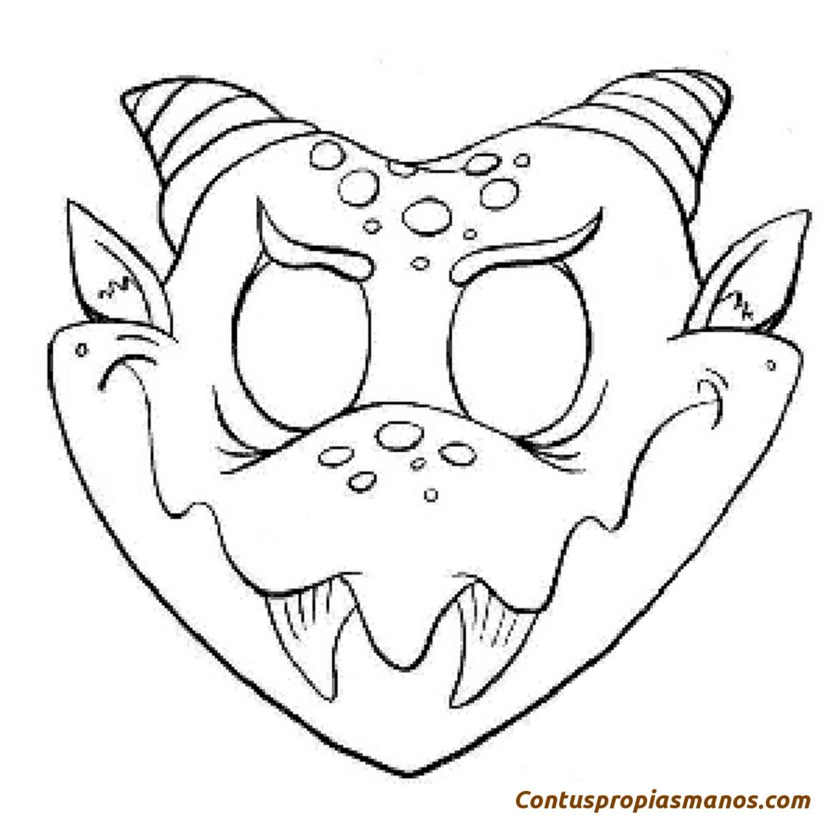 Bonito Máscaras De Halloween Para Colorear Modelo - Dibujos Para ...