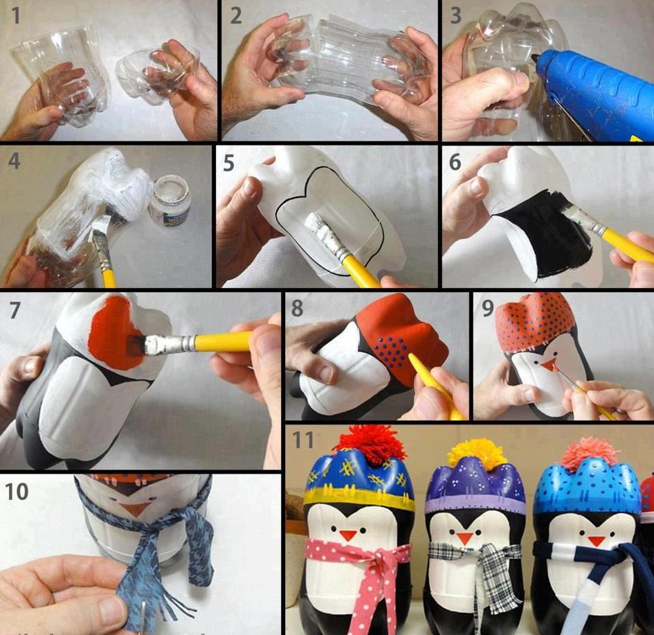 pingüino con botellas