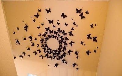 Mariposas de papel para decorar las paredes con tus - Manualidades para decorar paredes ...