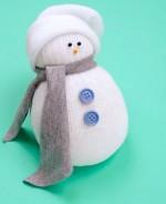 Muñeco de Navidad con un calcetín