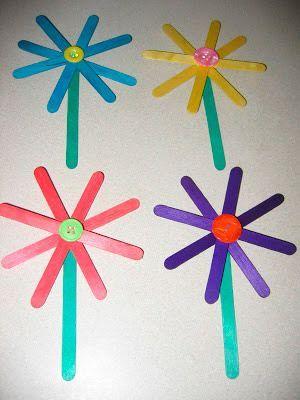 Manualidades de primavera flores de palillos con tus for Decoracion primavera manualidades